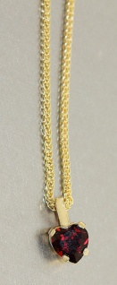 Anhänger Herz Gold 585 Granat Herzanhänger mit oder ohne Goldkette 14 Karat
