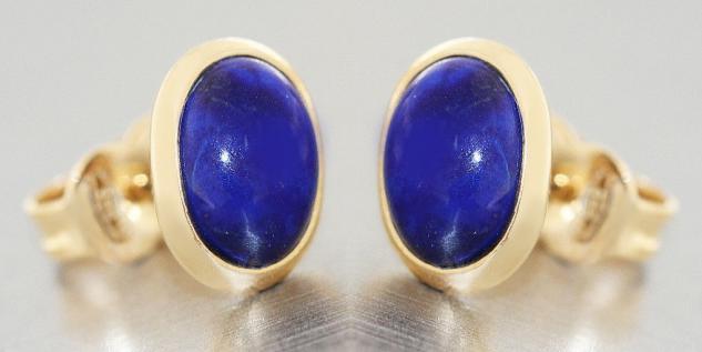 Ohrstecker Gold 585 Lapis Lazuli Cabochon ovale Ohrstecker Ohrringe Schmuck