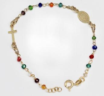 Rosenkranz Armband Silber 925 Rotgold od. Gold Rosario Perlen bunt Kreuz Maria
