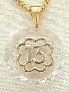 Glückszahl 13 auf Kristall Goldkette und Anhänger Gold pl Panzerkette vergoldet