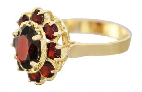 Ring Gold 750 Granat Ring Gelbgold 18 Karat mit echten Granaten Damen Granatring