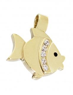 Fisch Anhänger Gold 585 mit Zirkonias Goldanhänger Fischlein Goldfisch 14 Karat