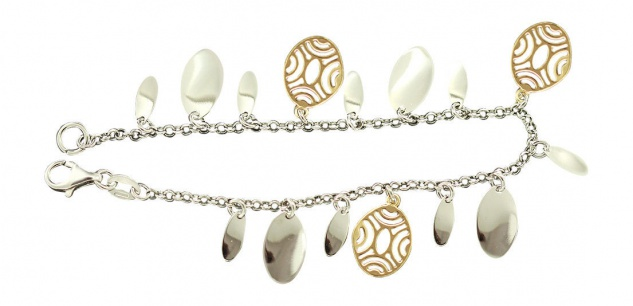 Silberarmband 925 bicolor - Armband Silber massiv Bettelarmband Armkette Gold pl