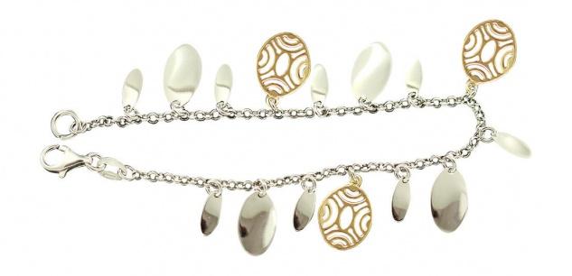 Silberarmband 925 bicolor Armband Silber massiv Bettelarmband Armkette
