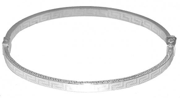 Armreif Silber 925 oval Armspange Mäander Muster Armband Damen echt Schmuck