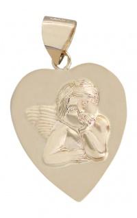 Herz Anhänger Schutzengel Gold 585 Goldanhänger Engel Goldherz Kommunion 14 kt