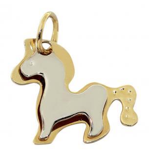 Pferd - Anhänger Gold 585 - Pferdchen - Goldanhänger 14 kt Goldpferd zweifärbig