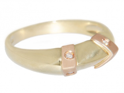 Brillantring Gold 585 bicolor Ring mit 4 Brillanten Damnring 14 Karat Rose