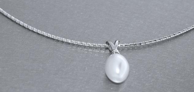 Halsreif Silber 925 Perlen Anhänger Collier Halskette mit Perle Damen Karabiner