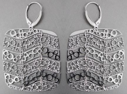 Ohrhänger Silber 925 Ohrringe große Rechtecke beweglich Damen Brisur Ohrschmuck - Vorschau 1