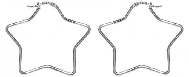 Stern Creolen Silber 925 Ohrringe origineller Ohrschmuck Damen Sternchen