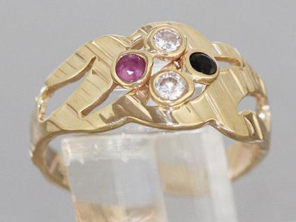 Goldring 585 - 14 kt Gold Ring mit Rubin Saphir und Zirkonia - Damenring