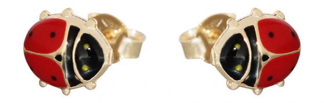Bezaubernde Marienkäfer Ohrstecker Gold 585 mit Email Goldohrstecker Ohrringe