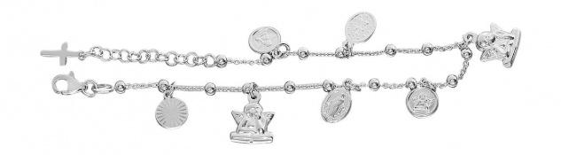 Armband Silber 925 Bettelarmband Anhänger Schutzengel Kreuz u Hl. Maria rhodin.