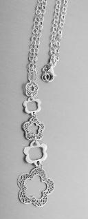 Silberkette 925 Blumen Anhänger lang beweglich Collier Halskette Gliederkette