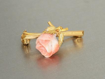 Brosche in Gold 375 mit 1 geschnitzten Koralle - Brosche 6 kt Gold - Rose - Vorschau