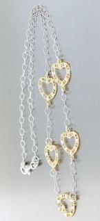 Silberkette 925 Herzen bicolor Gold Silber Collier Halskette Herz