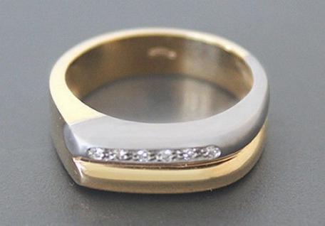 Massiver Goldring 585 mit Brillanten - Ring Gold - Brillantring - Damenring 14kt