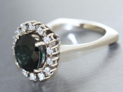 Ring Weissgold 585 mit Safir und Brillanten, Weissgold Ring 585, 14 kt Gold