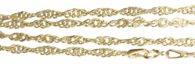 50 cm Singapurkette Gold 585 - Halskette gedrehte Goldkette 14 Kt - Collier