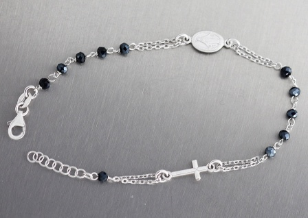 Rosenkranz Armband Silber 925 Silberarmband mit Zirkonia Perlen Kreuz u Maria