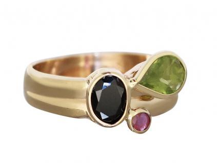 Multicolor Goldring 585 Peridot Rubin Saphir Ring Gold - Edelsteinring Damenring