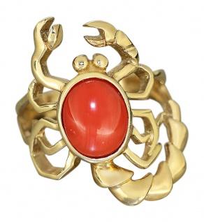 Massiver Goldring Skorpion Gold 585 mit Koralle Ring Sternzeichen Damenring
