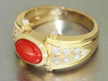 Massiver Damenring Ring Gold 750 mit Koralle u Zirkonias Goldring 18 kt.9, 3gr