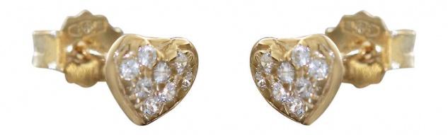 Herz Ohrstecker Gold 585 mit Zirkonias Ohrringe kleine Herzen 14 Karat Kinder