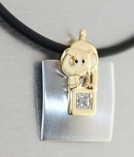 Elefant Anhänger Gold 375 auf Edelstahl mit Kautschukkette Goldkette