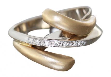 Superdesign!! Goldring 585 Ring Zweifarbengold mit Brillant - Brillantring Gold