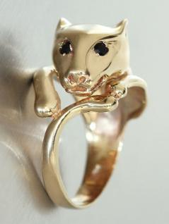 Goldring 585 mit Pantherkopf Ring Gold mit Saphir Damenring Pantherring