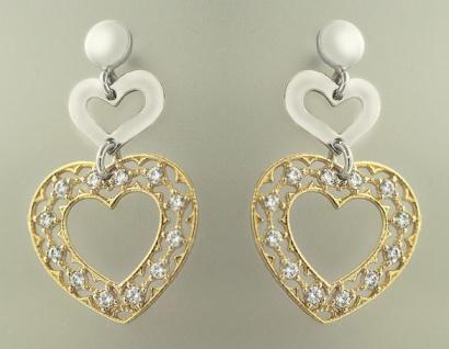 Ohrschmuck Silber 925 vergoldet Herz Ohrstecker Ohrringe Silber Gold pl