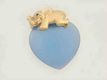 Elefant Gold 375 auf hellblauem Herz - Anhänger - Goldelefant - Goldanhänger 9kt