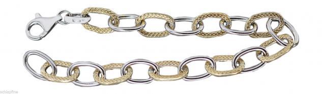 Silberarmband 925 Gliederarmband - Armband Silber Gold Armkette vergoldet 19 cm