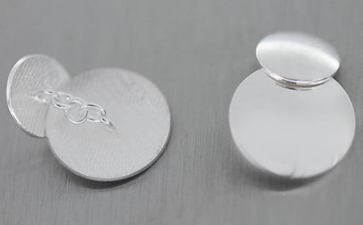 Runde massive Manschettenknöpfe Silber 925 massiv edle glatte Manschettenknöpfe