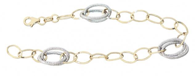 Armband Gold 585 bicolor Karabiner 20 cm ovale Glieder 14 Karat Armkette Damen