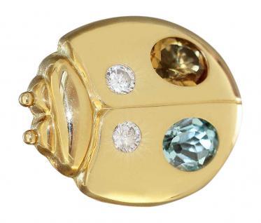 Brosche Gold 750 Marienkäfer mit Blautopas Citrin Zirkonias Goldbrosche 18 Karat