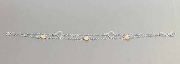 2-reihiges Silberarmband 925 m Herzen bicolor Armband Silber Herz Gold Armkette