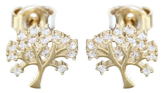 Lebensbaum Ohrstecker Gold 585 Zirkonias Ohrringe Damen Ohrschmuck Stecker