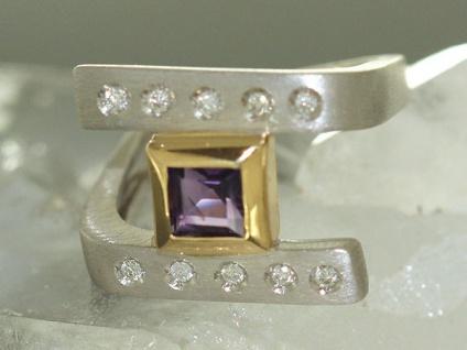 Designerring Weißgold 585 mit Brillant und Amethyst massiver Goldring Ring Gold