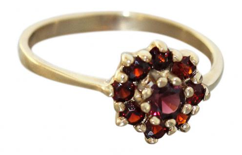 Granatblume - Ring Gold 585 mit echten Granaten - Goldring - Granatring - Damen
