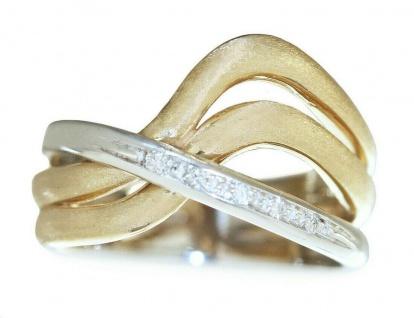 Ring Gold 585 bicolor Brillanten 0, 07 ct. Designerring 14 Kt. Brillantring Damen