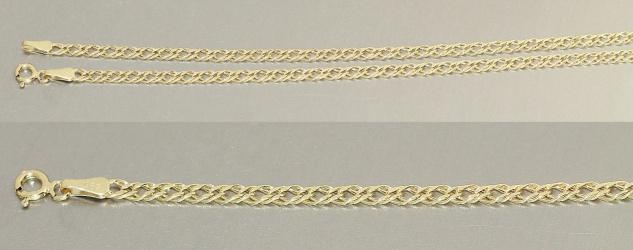 45 cm geschliffene Goldkette 585 - breite Kette Gold - Halskette - 14 Karat