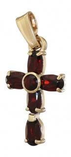Kleines Goldkreuz 585 mit Granaten - Kreuz Gold - Goldanhänger Granatkreuz 14 kt
