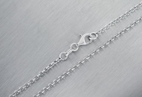 60 cm Erbskette 925 massive Silberkette mit Karabiner Gliederkette Halskette