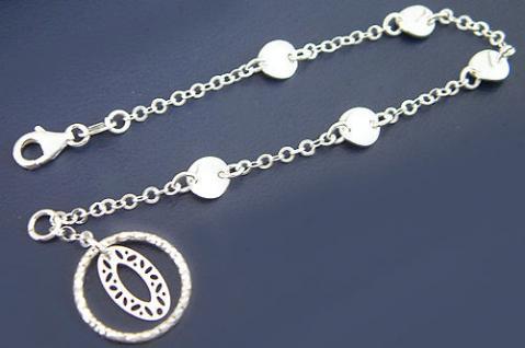 Modernes Silberarmband Armband Silber 925 mit Anhänger - Damen Armkette massiv