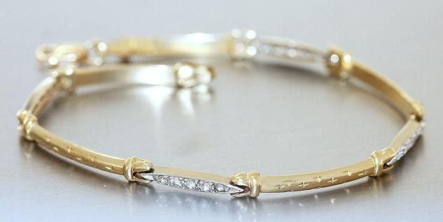 Goldarmband 585 mit Zirkonias elegantes Armband Gold 14 Karat bicolor 5, 9 gr.