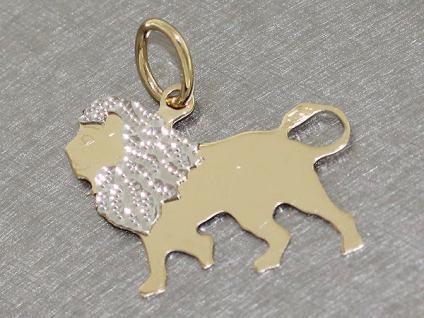 Anhänger Löwe Gold 585 - Goldanhänger - Sternzeichen Löwe kleiner Anhänger 14 kt