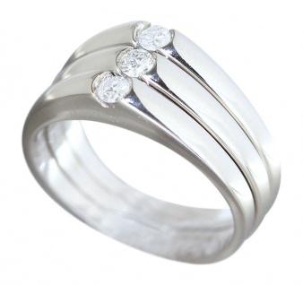Dreiteiliger Ring Weißgold 750 Brillantring Weißgoldring Brillanten 0, 21 ct.